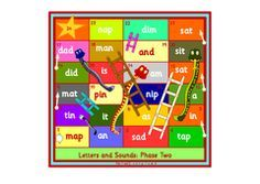 Snakes and Ladders phonics games. Phase 3 of the Letters and Sounds scheme.