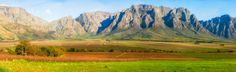 Beautiful mountains (with a little snow on the peak) as viewed from Slanghoek close to Worcester in the Western Cape of South Africa.