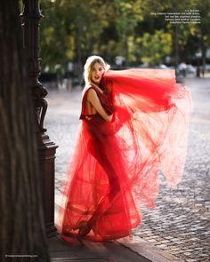 Red Valentino: Irina Nikolaeva in Valentino red dresses for Harper's Bazaar China Oct 2015 by Benjamin Kanarek.