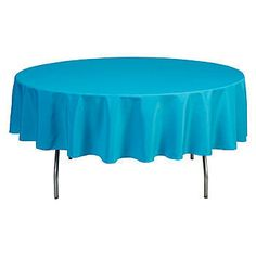 This Bermuda Round Polyester Tablecloth is made of durable, woven fabric so it can be laundered and used over and over. The tablecloth measures 90 inches.