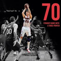 Kyle Korver is looking to make it 71 straight games with a three-pointer tonight