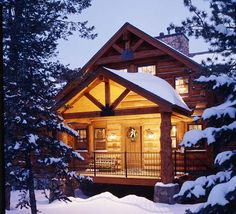 Log home floor plan with pictures. Get inspiration for your own log home design with Yellowstone Log Home's pictures of log home exteriors. Learn more about our log cabin services today. Winter Cabin, Cozy Cabin, Cozy Winter, Snow Cabin, Winter Holiday, Log Cabin Homes, Log Cabins, Cabin In The Woods, Little Cabin