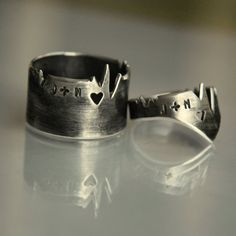 TWO HEARTs ONE BEAT Personalized cardiogram rings for by NOjewelry, $140.00