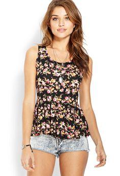 La Bella Rose Peplum Top | FOREVER21 #SpringBreak #Floral--> Really want that shirt!