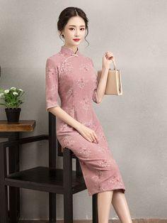 Red Floral Linen Midi Qipao / Cheongsam Dress
