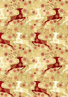 Stonehenge Reindeer Prance - Snowy Wonders - Toasted Tan/Gold
