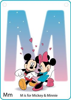 M for Mickey Mouse & Minnie Mouse (Preschool Cards by CurrysCoolCreations @Etsy) #Disney