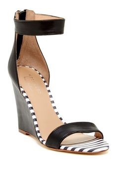 Striped Wedge Sandal