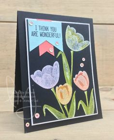 Wonderful You | Stampin\' Up! | Tranquil Tulips | Soft Sayings #literallymyjoy #tulips #flowers #stampinblends #heatembossing #20172018AnnualCatalog