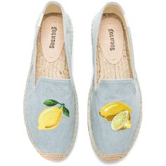 Soludos Lemon Platform (240 BRL) ❤ liked on Polyvore featuring shoes, flats, lemon shoes, platform shoes, embroidered flat shoes, slip on shoes and flat pumps