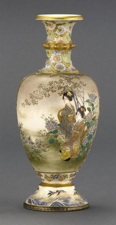 """KINKOZAN SATSUMA POTTERY VASE Meiji Period  In baluster form. Decorated with ladies in a garden on one face; birds and wisteria on the reverse. Signed. Height 7"""" (17.78 cm)."""