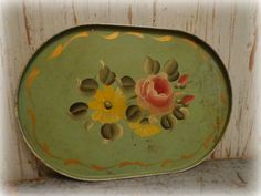 vintage green handpainted tole metal tray by AntiqueShopGirl, $24.00
