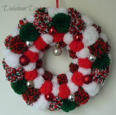 Christmas Pom pom Wreath, Christmas Wreath, Pompom Wreath, Pom pom Wreath - pinned by pin4etsy.com