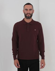 1d4b803f859 C.P. Company - Square Logo Polo Long Sleeved - Burgundy