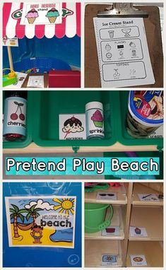 Create a pretend play beach for your preschool students in the dramatic play center - perfect for ocean thematic unit. Beach Theme Preschool, Preschool Centers, Preschool Writing, Preschool Activities, Kindergarten Classroom, Dramatic Play Area, Dramatic Play Centers, Camping Dramatic Play, Beach Play