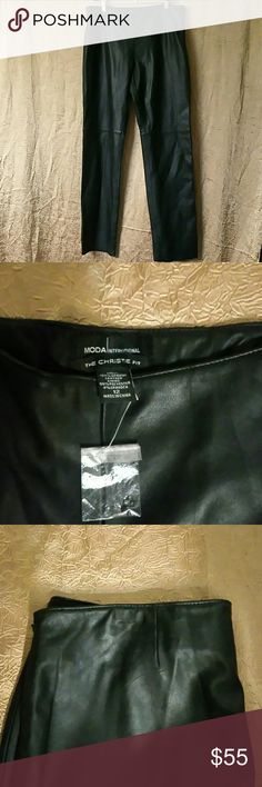 Genuine Leather Pants Never worn Genuine Leather Pants size 12. Hanger impression on the top of the pants. You can barley see it in picture 3 Moda International Pants