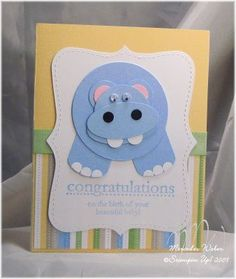 Creations by Mercedes: Sale-a-Bration Punch Art! Hippo card uses the Congrats set, Delicate Dots Designer Paper, Ribbon Bundle. Baby Shower Cards, Baby Cards, Kids Cards, Boy Shower, Paper Punch Art, Punch Art Cards, Kids Birthday Cards, Animal Cards, Creative Cards
