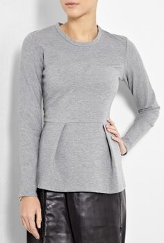 Grey Long Sleeve Peplum Top by 3.1 Phillip Lim