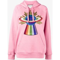 Gucci Embroidered Hooded Sweatshirt ($1,435) ❤ liked on Polyvore featuring tops, hoodies, pink top, long sleeve hooded sweatshirt, long sleeve tops, cotton hoodies and colorful hoodie