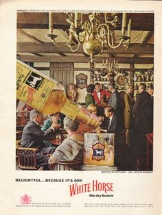 "1962 WHITE HORSE DRY SCOTCH vintage magazine advertisement ""because it's dry"" ~ Delightful . . . because it's dry - Bottled in Scotland - 100% Scotch Whiskies - White Horse - the dry Scotch ~"