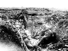 Canadian soldiers at Vimy Ridge in April 1917, during the First World War.