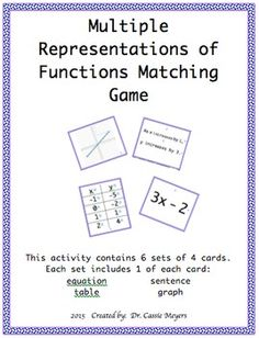 This activity provides a fun way for your students to practice functions. Simply print onto thick paper or card stock. Laminate for durability and longevity. Cut apart each box.Use in small groups, math centers, as home work, a bulletin board, etc. Students will have 6 sets of 4 cards.
