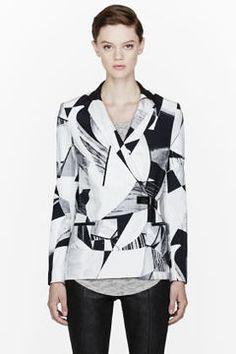 HELMUT LANG Grey Cubist Print Blazer on shopstyle.com