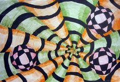 One Crayola Short: Drawing Vanishing Point Art, Art Optical, Optical Illusions, Op Art Lessons, Middle School Art Projects, School Ideas, Opt Art, 6th Grade Art, Principles Of Art