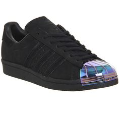 Adidas Superstar 80's Metal Toe W ($125) ❤ liked on Polyvore featuring shoes, sneakers, trainers, black petrol, hers trainers, kohl shoes, black shoes, black trainers, black sneakers and 80s footwear