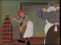 """Easy Does It (1946) Produced for Stokely-Van Camp The cartoon is believed to be a propaganda film by Stokely Van Camp beans against Heinz. There is a strong reference to Heinz in the beginning of the film as, """"that British [UK] brand."""" As well as how unknown, unpopular, and not as strong if a product as Van Camp's. Pop's grocery store is about to be shut down. The banker promises not to foreclose if Pop's daughter will marry him. The grocery store clerk, who is in love with Pop's daughter, is visited by a little creature named Easy - who whisks the clerk back in time via a spaceship in order to show him the glories of Stokely Van Camp canned foods. Returning to the store, the clerk promptly stocks the shelves with Stokely products. The customers return and the store is saved. The daughter, unaware of all of this, is about to marry the evil banker when the clerk and Easy swoop down and save the day."""