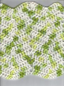 Free Crochet Ripple Dishcloth pattern.  A quick and easy pattern to practice the ripple stitch before moving on to a larger blanket.