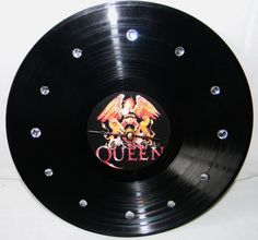 QUEEN Vinyl Record Wall Clock Red and Gold by PandorasRecordArt, $25.00