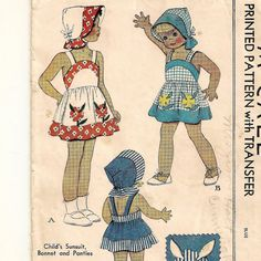 McCall 1030, A Bibbed Sundress, Panties and Bonnet Pattern with Flower Transfers Pattern by So Sew Some!