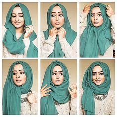 """""""The style I use most often, very simple! This hijab style is great if you like 'volume' / if you like to wear necklaces ✨ 1. Start off by placing it on…"""""""