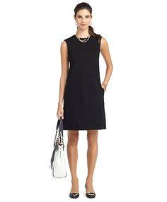 Brooks Brothers-Knit Ponte A-Line Dress Black-Classic!