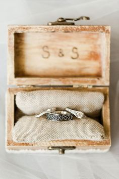 Modern Vintage North Carolina Wedding Engagement Ring And Weddings Bands In Decorative Box Brides