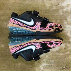 eefa768cc259 Custom pink sprinkled donut Hand painted Nike Romaleos olympic  weightlifting crossfit shoes