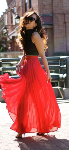 #summer #fashion / red maxi skirt