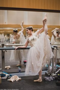 Tutu Tuesday: A Wili warming up backstage. The Wili's tutus are the same ones that were worn when the current version of Giselle premiered on April 16, 1970, making them older than most of the dancers who wear them.