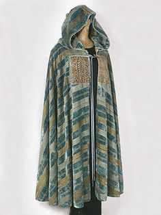 Fortuny silk velvet hooded cape hand stenciled with Coptic motifs, c.1920. Provenance: from the collection of Gloria Vanderbilt.