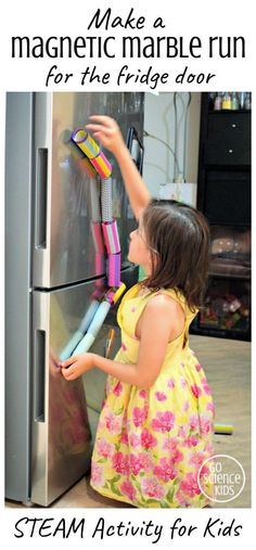 Make a DIY Magnetic Marble Run for the Fridge Door – fun STEAM activity that children can do at home, and learn about physics through play. From Go Science Kids. Steam Activities, Cool Science Experiments, Preschool Learning Activities, Science For Kids, Science Projects, Creative Activities, Toddler Activities, Preschool Activities, Steam Learning