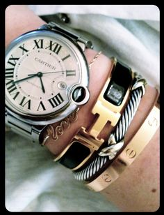Cartier, Hermes, David Yurman Stack | honestly, what's not to like?  gorg.