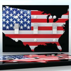 DIY Do It Yourself Home Decor - Easy to apply wall plate wraps | Shaped Flag of USA American flag on black background wallplate skin sticker for 3 Gang Toggle LightSwitch | On SALE now only $5.95