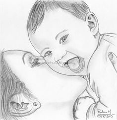 Baby With Mom Mom Kisses Baby Pencil Sketch Yelp Little