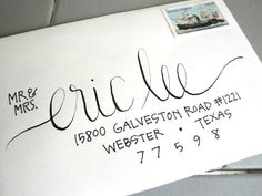 Add a personal and memorable touch to your next event with hand-penned lettering. Each envelope is individually hand-lettered with your guests name