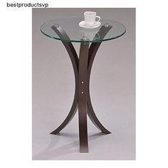 #Ebay #Glass #End #Table #Modern #Round #Walnut #Wood #Veneer #MDF #Side #Coffee #Stylish #Durable