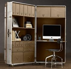 this metal secretary trunk is amazing! such an old world feel to it. closed it looks like a trunk or suitcase!