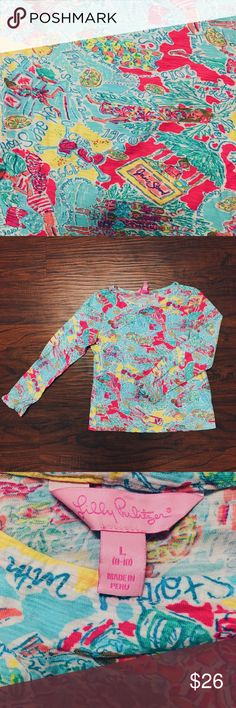 Rare Lilly Pulitzer Shirt EUC, long sleeved girls shirt. Shows history of Lilly Pulitzer in a unique design, wish it was my size! Girls 8/10 Lilly Pulitzer Shirts & Tops