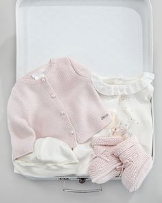 Suitcase Layette Set by Chloe at Neiman Marcus. Ruffle Skirt, Ruffle Blouse, Suitcase Set, Knitted Booties, Kids Wardrobe, Baby Kids, Baby Baby, Printed Tees, Playsuit