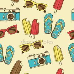 Ретро летние каникулы бесшовный фон — стоковая иллюстрация #72030099